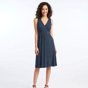 77a6b902e174 L.L. Bean · Summer Knit Dress Sleeveless Cool Blue Print
